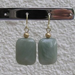 Handmade Polished Natural Jade Earrings